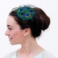 Westray - Peacock feather fascinator with green silk fabric