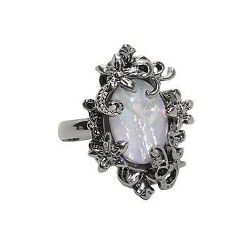 Blackheart White Opal Filigree Ring