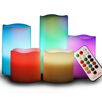 Multi Color Flameless Wax Candles Set of 5 with Remote and Timer