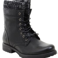 Sweater Cuff Lace Up Ankle Combat Booties Women's Vegan Boots