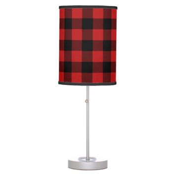 Red Buffalo Plaid Print Pattern Desk Lamp