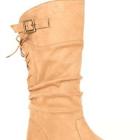 Flat Mid-Height Suede Boot with Lace Up Back and Ruched Shaft