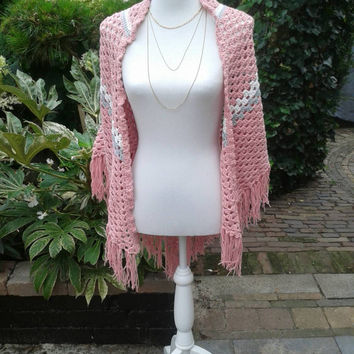 Crochet shawl, lace scarf, wrap shawl, pink shawl, festival fashion, spring summer accessory for women