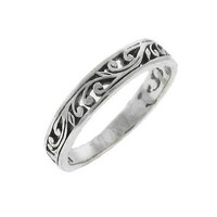 Stack Ring Ornate Scroll Sterling Silver