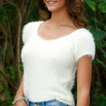 Fuzzy Knit Short Sleeve Sweater Ivory