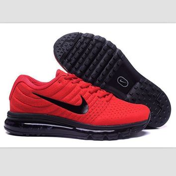 """NIKE"" Trending Fashion Casual Sports Shoes AirMax section Red black hook soles"
