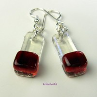 Wild Cherry Handmade Fused Glass Dangling Earrings - Sterling Silver