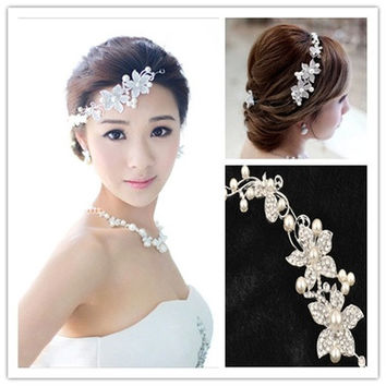"Ladies Silver Rhinestone Bridal Wedding Flower Pearls Headband Hair Clip Comb (Size: 10"" by 2"", Color: Silver) [7981429511]"