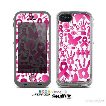 The Pink Collage Breast Cancer Awareness Skin for the Apple iPhone 5c LifeProof Case