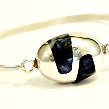 "Sterling Silver 925 Lapis Stone Inlay Bangle 6"" Bracelet, Signed TM88 Mexico"