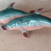 Marineland Salt & Pepper Shakers Dolphin Porpoise Collectibles Vintage 111816AL