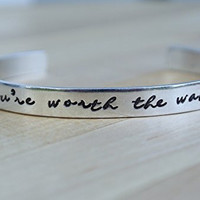 You're Worth The Wait | Long Distance Relationship Bracelet | Purity Ring | Purity Jewelry | Aluminum Bracelet | Hand Stamped Jewelry