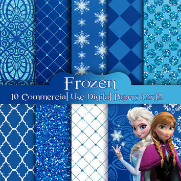 FROZEN  - Digital Papers  - Commercial Use - Frozen Background -    12x12 JPG Files  -  Scrapbook Papers - High Quality 300 dpi