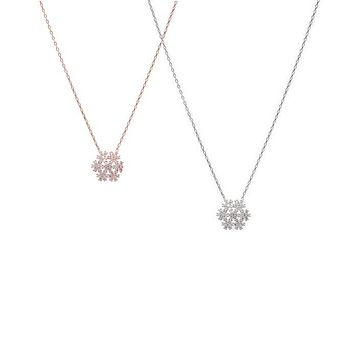 Sterling Silver Small CZ Snowflake Necklace - Rhodium or Rose Gold Plated