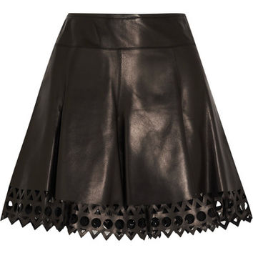 Alaïa - Laser-cut leather mini skirt