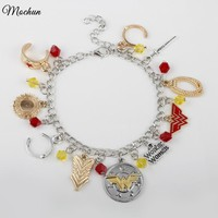 MQCHUN DC Comics WONDER WOMAN ( 10 Themed Charms) Assorted Metal Charm Bracelet Bangle AXL045