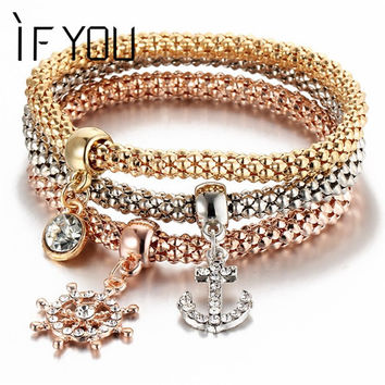 3Pcs Crystal Bracelet Women Gold Color Filled Bracelets Bangles Jewellery Elastic Charm Chain Gifts pulseira feminina