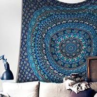 Popular Handicrafts Hippie Mandala Bohemian Psychedelic Intricate Floral Design Indian Bedspread Magical Thinking Tapestry 54x86 Inches,(140x215cms) Neavy Blue
