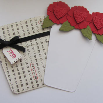 Valentines Day Flower Pot Card, Crossword Puzzle, Embossed Heart, Love Card, Black Red, XOXO