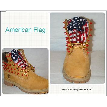 Custom Red Spiked Timberland American Flag Print