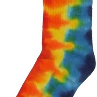 Tie dye socks - rainbow crew length - size 9-11