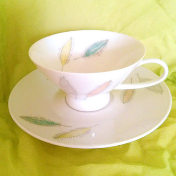 Vintage Tea Cup and Saucer Bunte Blatter Rosenthal  Continental Mid Century Modern 1950's Porcelain Rare Tea Cup and Saucer