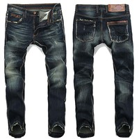 Men's Distressed Washed Denim Blues