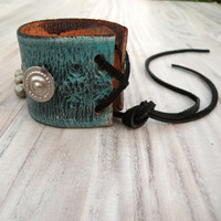 Turquoise Leather Cuff, Arm Band, Southwestern Bracelet, Adjustable Cuff, Gypsy Metalwork