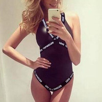 Fashion Letter Halter One Piece Swimsuit Swimwear