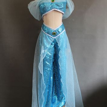 Shipping Style Aladdin Jasmine Princess Cosplay Costume Adult Women Party Costume Custom