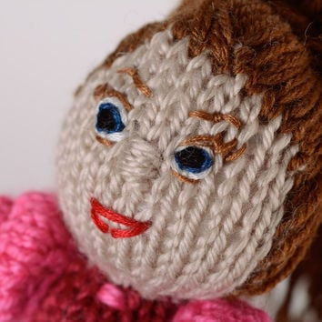 Handmade Crochet doll Fabric baby toy Children s gift idea Knitted doll in dress
