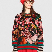 DCCKHI2 GUCCI HOT SALE Round neck letters printed loose long sleeve sweater black Tagre-