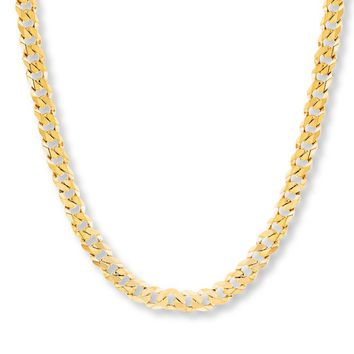 Men's Cuban Curb Chain Necklace 14K Yellow Gold 22