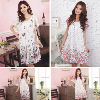 Women's Flower Leisure Wear Sleepwear Cute Nightgown Maternity Dress Nightwear = 1945728516