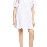 Chelsea28 Eyelet Cold Shoulder Shift Dress | Nordstrom