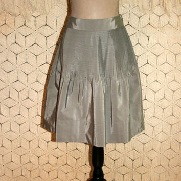 Gray Skirt Pleated Skirt Full Skirt Satin Skirt Midi Skirt Small Size 6 Skirt Taffeta Skirt Gray Satin Skirt Banana Republic Womens Clothing