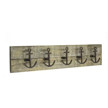 Contemporary Metal Anchor Hooks on Wooden Panel, Brown -SageBrook Home