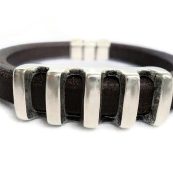Men's Bracelet ,Brown Licorice , Spanish Leather with silver zamak.Regaliz