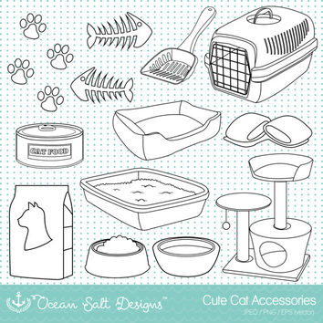 Cat Toys Clipart, Cat Food, Kittens, Pets, Cat Furniture, Digital Stamps, Colouring Page, Disney Aristocats, Vector, EPS, Digital Download