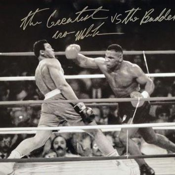 ICIKJNG Mike Tyson Signed Autographed 'The Greatest vs The Baddest' Glossy 16x20 Photo vs. Muhammad Ali (ASI COA)