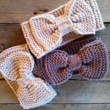 Bow Knit Headband Ivory Gray removable bow