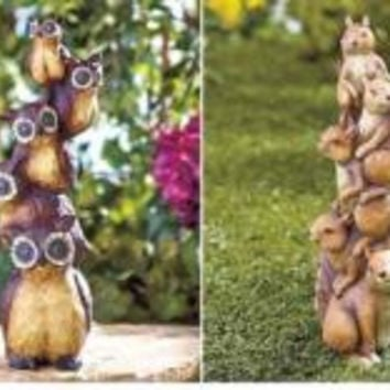 Animal Totem Statues Yard Lawn Decor Frog Squirrel Owl Ceramic Large NEW