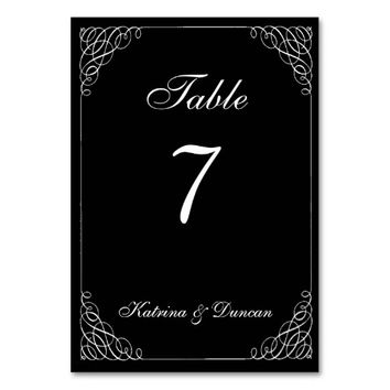 Elegant Swirl Black Personalized Table Card