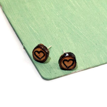 Wooden Heart Studs, Heart Studs, Heart Earrings, Wooden Earrings, Wooden Studs, Wood Burned Earrings, Wood Burned Studs, Wooden Jewelry