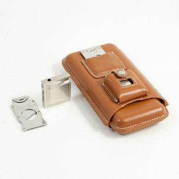 3 Cigar Holder w/ Cigar Cutter & Lighter, Brown Leather Case, T.P.