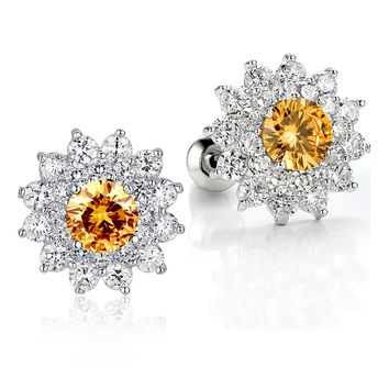 Sunflower W. Amber and Clear Round Cubic Zirconia Stud Earrings