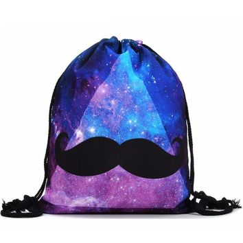 Galaxy Mustache Celestial Stars Drawstring Bags Cinch String Backpack Funny Funky Cute Novelty