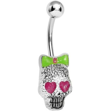 Lower Mount Cute Metal Pink Heart Sugar Skull Belly Ring