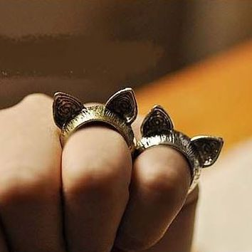 2 Kitty Cat Ears Vintage Rings ( Set of Antique Gold+Silver) - LilyFair Jewelry