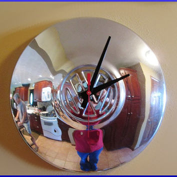 Clock Repurposed VW Hubcap Volkswagen Hub Cap Retro Man Cave Wall Decor Vintage